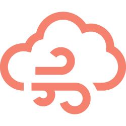 L'icône montre un nuage et du vent
