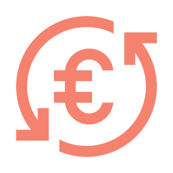 The icon shows the euro sign and is surrounded by circular arrows